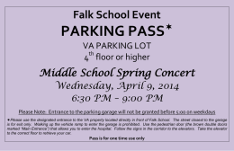 PARKING PASS  Falk School Event Middle School Spring Concert