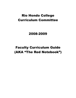 Rio Hondo College Curriculum Committee 2008-2009 Faculty Curriculum Guide