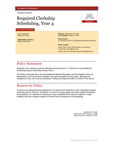 Required Clerkship Scheduling, Year 4