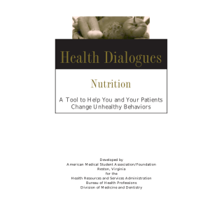 Health Dialogues Nutrition A Tool to Help You and Your Patients