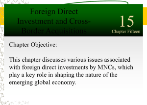 15 Foreign Direct Investment and Cross- Border Acquisitions