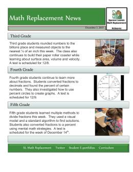 Math Replacement News Third Grade