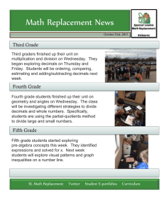 Math Replacement News Third Grade