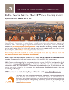 Call for Papers: Prize for Student Work in Housing Studies