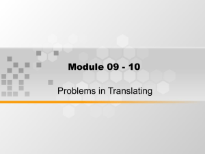 Module 09 - 10 Problems in Translating