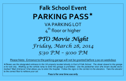 PARKING PASS  Falk School Event PTO Movie Night