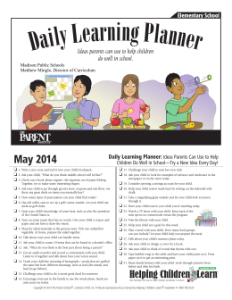 May 2014 Daily Learning Planner: Ideas Parents Can Use to Help