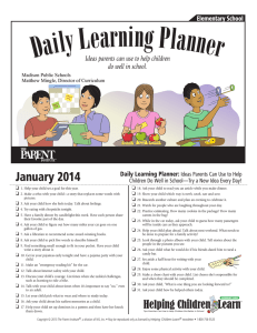 January 2014 Daily Learning Planner: Ideas Parents Can Use to Help