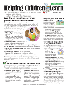 Ask	these	questions	at	your parent-teacher	conference Motivate your child with a study buddy