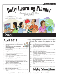 April 2013 Daily Learning Planner: Ideas Parents Can Use to Help
