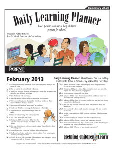 February 2013 Daily Learning Planner: Ideas Parents Can Use to Help