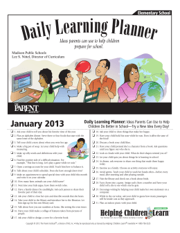 January 2013 Daily Learning Planner: Ideas Parents Can Use to Help