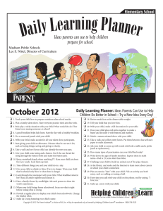 October 2012 Daily Learning Planner: Ideas Parents Can Use to Help