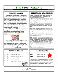 The Green Gazette Curriculum At A Glance SHARING CORNER