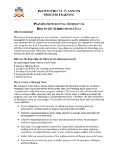 INSTITUTIONAL PLANNING PROCESS TRAINING P S