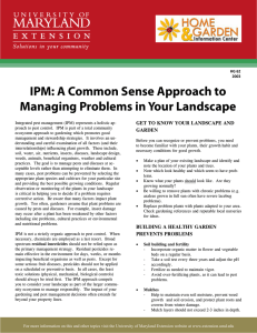 IPM: A Common Sense Approach to Managing Problems in Your Landscape