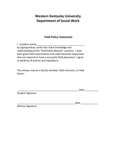 Western Kentucky University Department of Social Work  Field Policy Statement