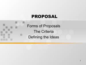 PROPOSAL Forms of Proposals The Criteria Defining the Ideas