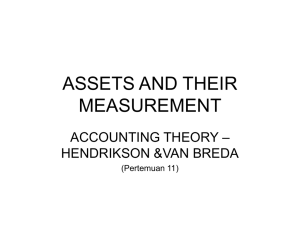 ASSETS AND THEIR MEASUREMENT – ACCOUNTING THEORY