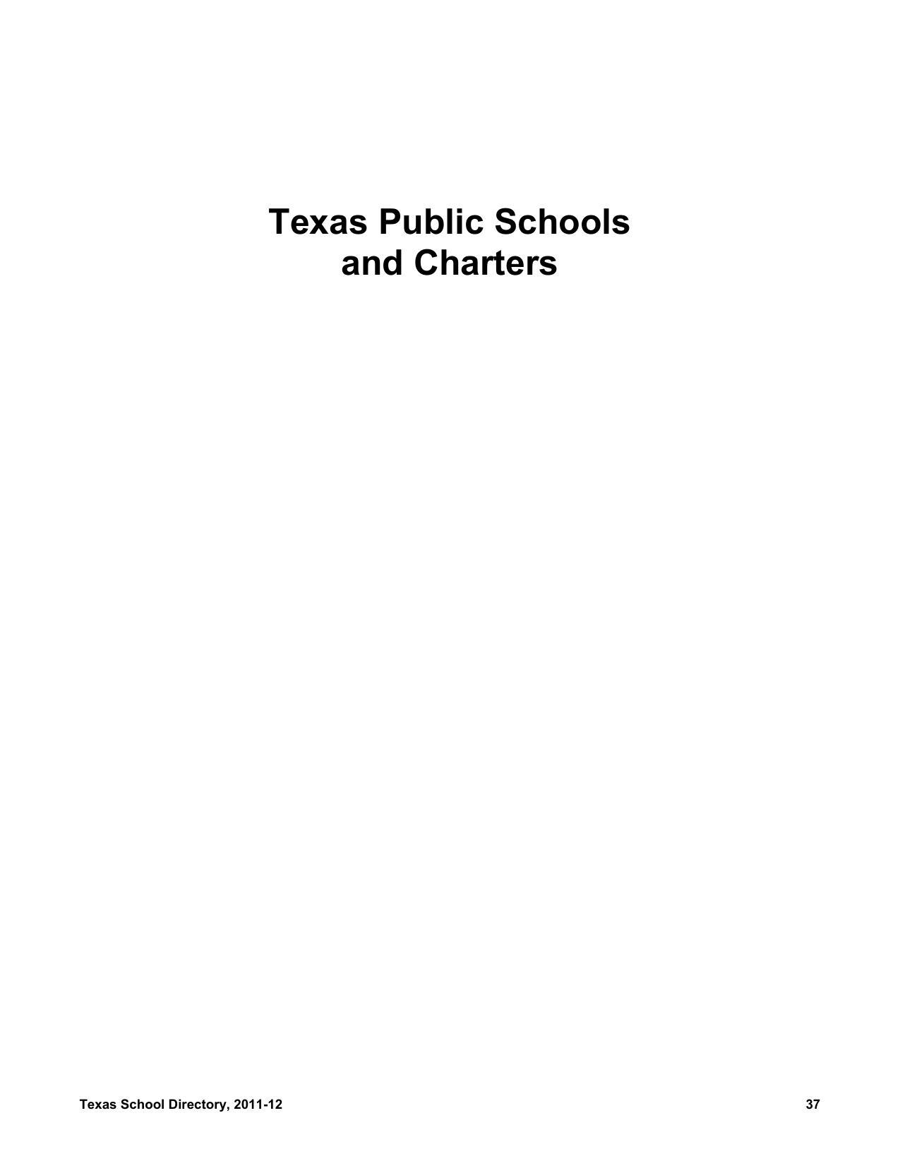 Texas Public Schools And Charters School Directory 2011 12