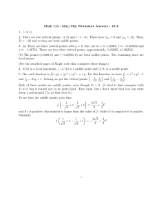 Math 113 - Max/Min Worksheet Answers - 10/6 1. (−3, 1).