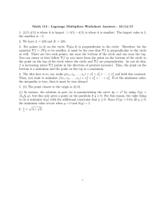 Math 113 - Lagrange Multipliers Worksheet Answers - 10/14/15