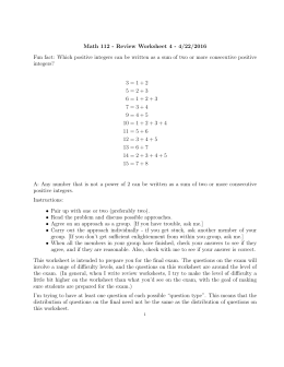 Math 112 - Review Worksheet 4 - 4/22/2016