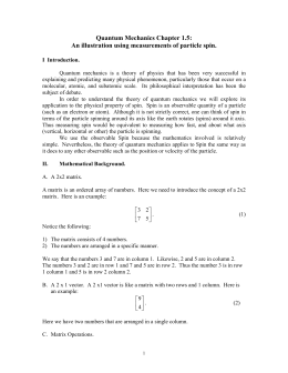 Quantum Mechanics Chapter 1.5: An illustration using measurements of particle spin.