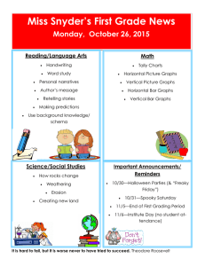 Miss Snyder's First Grade News Monday,  October 26, 2015 Reading/Language Arts Math