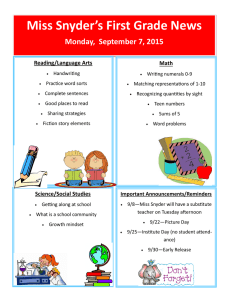 Miss Snyder's First Grade News Monday,  September 7, 2015 Reading/Language Arts Math