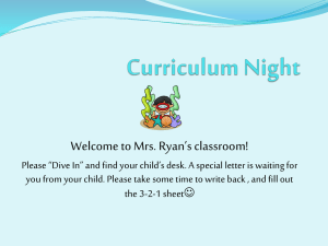 Welcome to Mrs. Ryan's classroom!