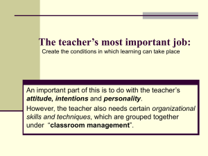 The teacher's most important job: organizational classroom management