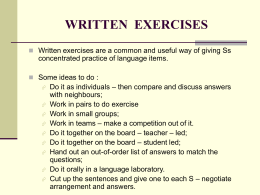 WRITTEN  EXERCISES