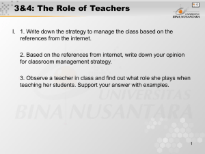 3&4: The Role of Teachers