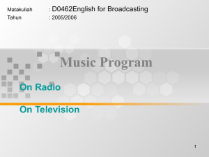 Music Program On Radio On Television D0462English for Broadcasting