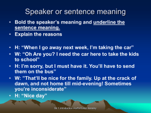 Speaker or sentence meaning