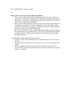 TK_6_ASSGNMENT_business_english  Fax 1.  This is used in routine day-to-day communication where...