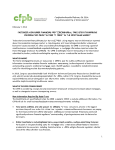 FACTSHEET: CONSUMER FINANCIAL PROTECTION BUREAU TAKES STEPS TO IMPROVE