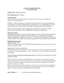 SAMPLE JOB DESCRIPTION (For H-1B Petition) Position Title In the Department of