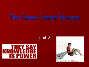 The Career Search Process  Unit 2