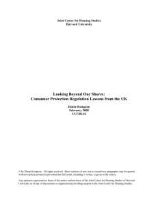 Looking Beyond Our Shores: Consumer Protection Regulation Lessons from the UK