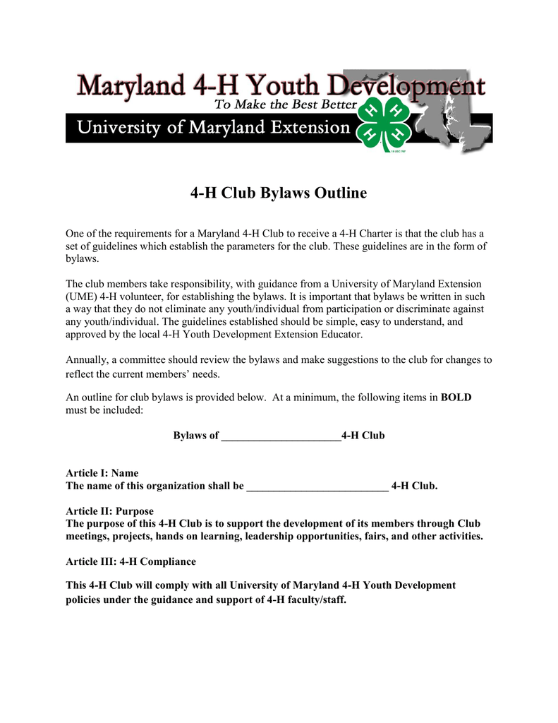 4 h club bylaws outline