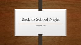 Back to School Night October 1, 2015