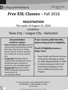 Free REGISTRATION Texas City – League City - Galveston
