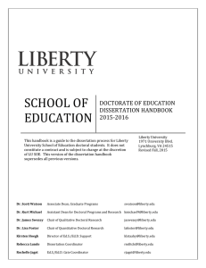 SCHOOL OF EDUCATION DOCTORATE OF EDUCATION DISSERTATION HANDBOOK