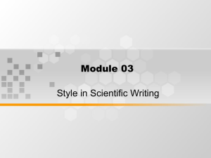 Module 03 Style in Scientific Writing