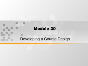 Module 20 Developing a Course Design