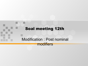 Soal meeting 12th Modification : Post nominal modifiers