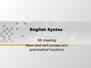 English Syntax 5th meeting Noun and verb phrase and grammatical functions