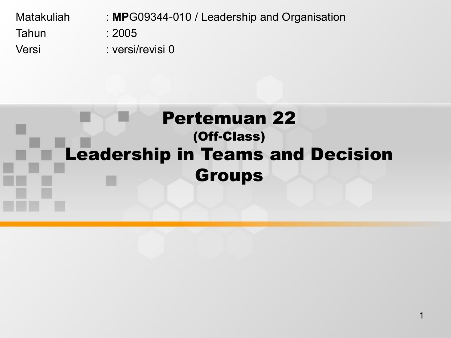 leadership in teams and decision groups